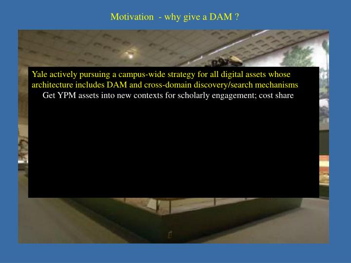 Motivation  - why give a DAM ?