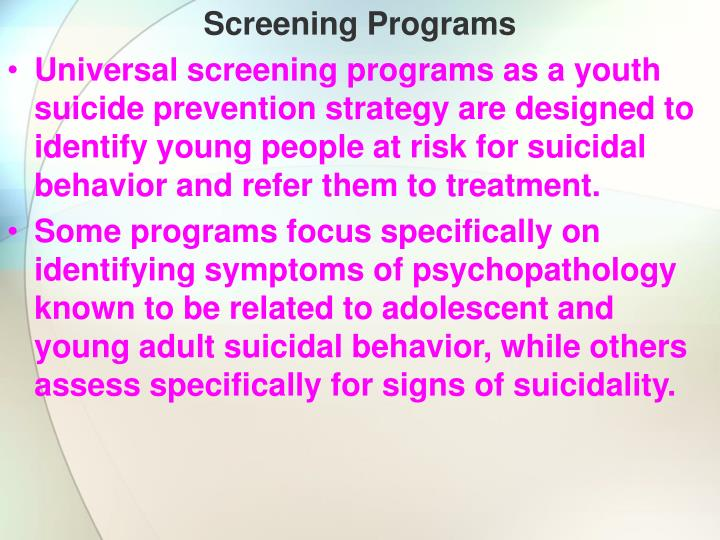 Screening Programs