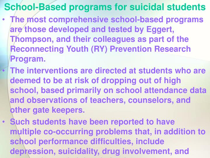 School-Based programs for suicidal students