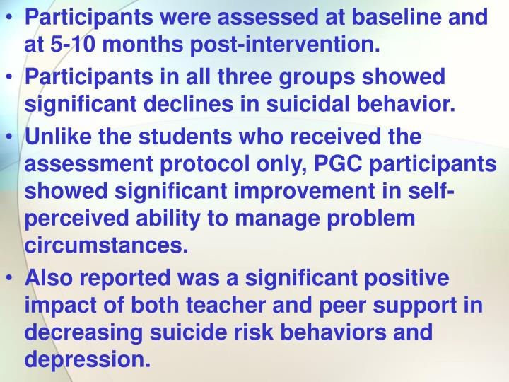 Participants were assessed at baseline and at 5-10 months post-intervention.