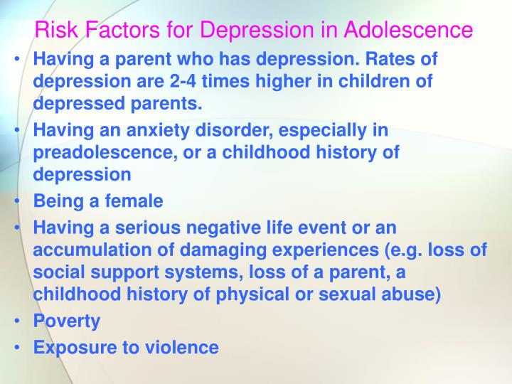 Risk Factors for Depression in Adolescence