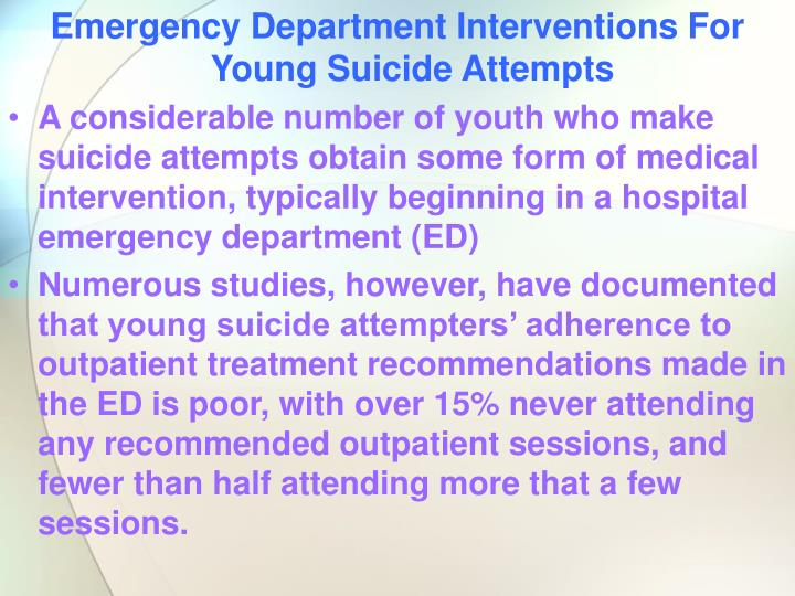Emergency Department Interventions For Young Suicide Attempts