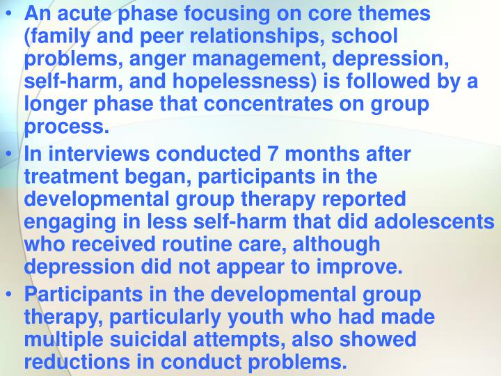 An acute phase focusing on core themes (family and peer relationships, school problems, anger management, depression, self-harm, and hopelessness) is followed by a longer phase that concentrates on group process.
