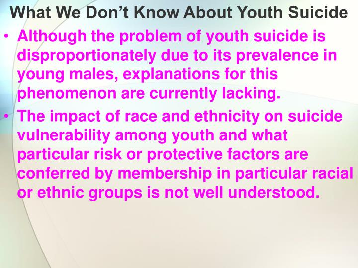 What We Don't Know About Youth Suicide