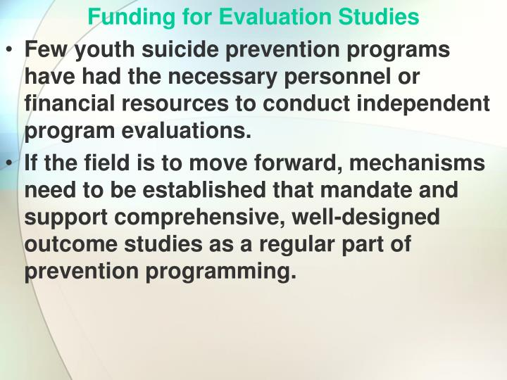 Funding for Evaluation Studies