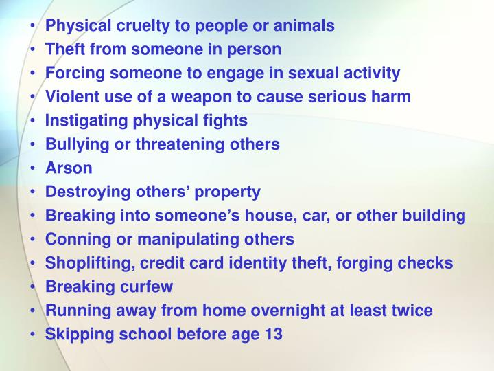 Physical cruelty to people or animals