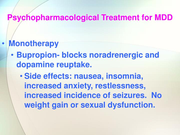 Psychopharmacological Treatment for MDD