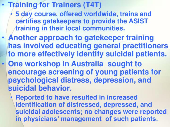 Training for Trainers (T4T)