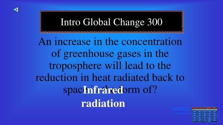 An increase in the concentration of greenhouse gases in the troposphere will lead to the reduction in heat radiated back to space in the form of?