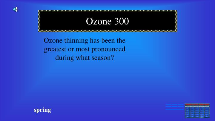 Ozone thinning has been the greatest or most pronounced during what season?