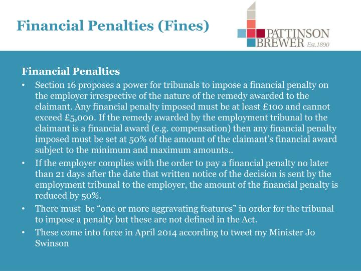 Financial Penalties (Fines)