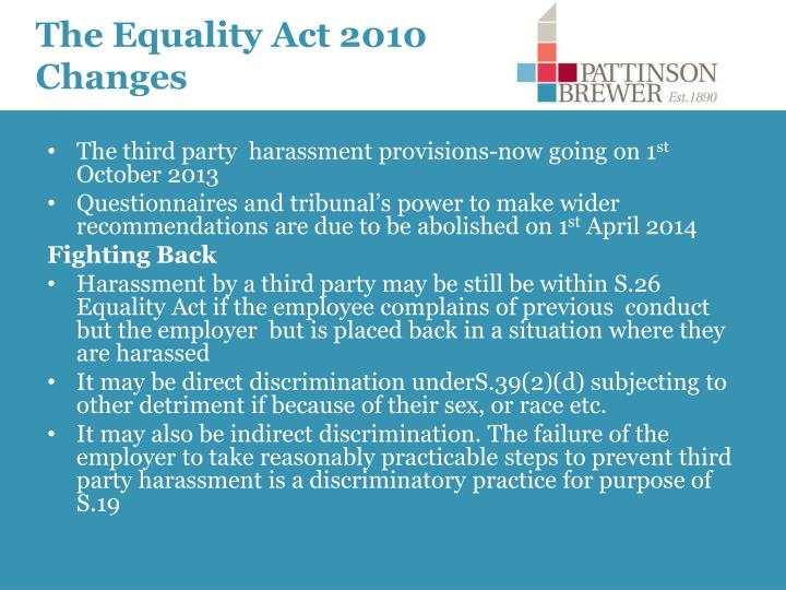 The Equality Act 2010 Changes