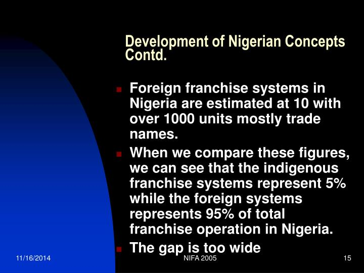 Development of Nigerian Concepts Contd.