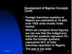 development of nigerian concepts contd