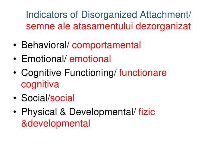 Indicators of Disorganized Attachment/