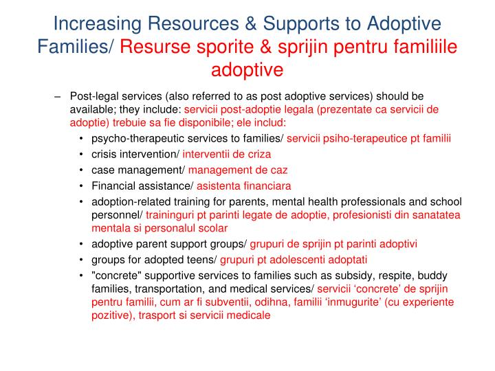 Increasing Resources & Supports to Adoptive Families/