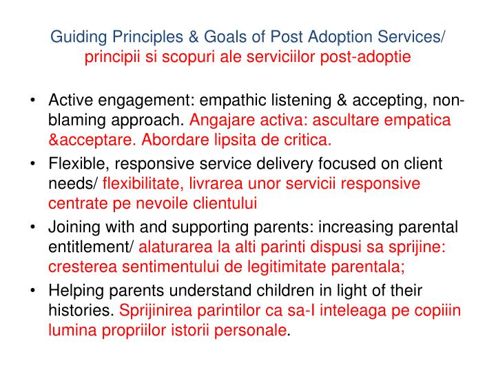 Guiding Principles & Goals of Post Adoption Services/