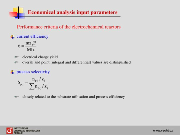 Economical analysis input parameters