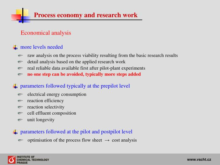 Process economy and research work