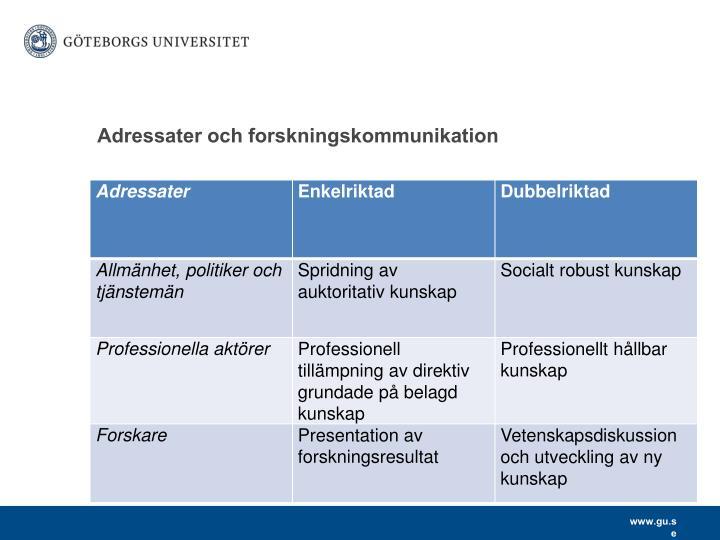 Adressater och forskningskommunikation
