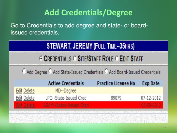 Add Credentials/Degree