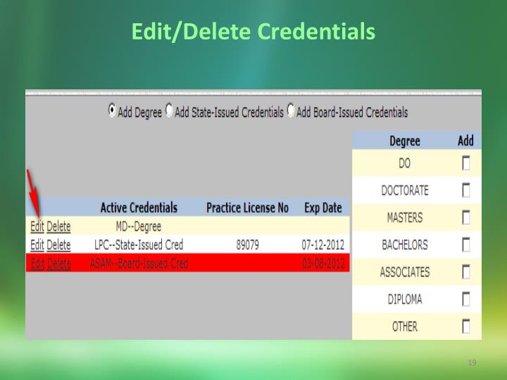 Edit/Delete Credentials