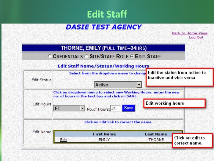 Edit Staff