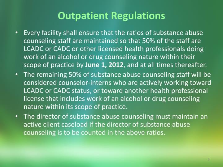 Outpatient Regulations