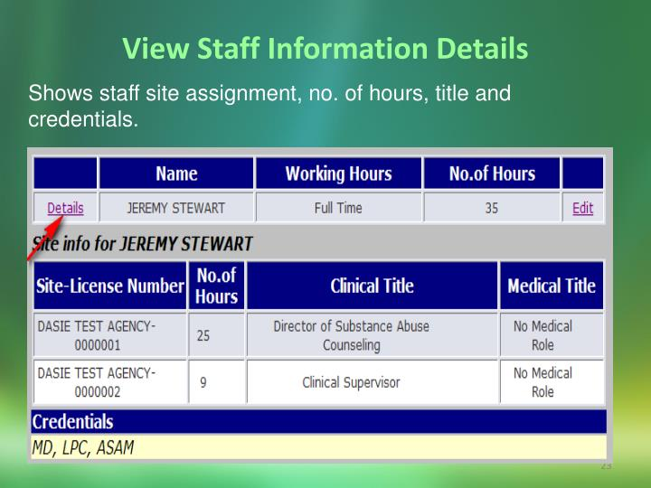 View Staff Information Details