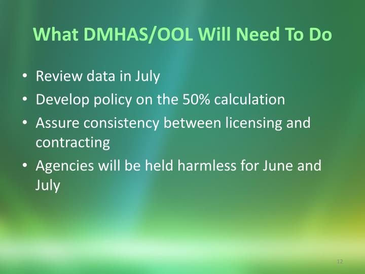 What DMHAS/OOL Will Need To Do
