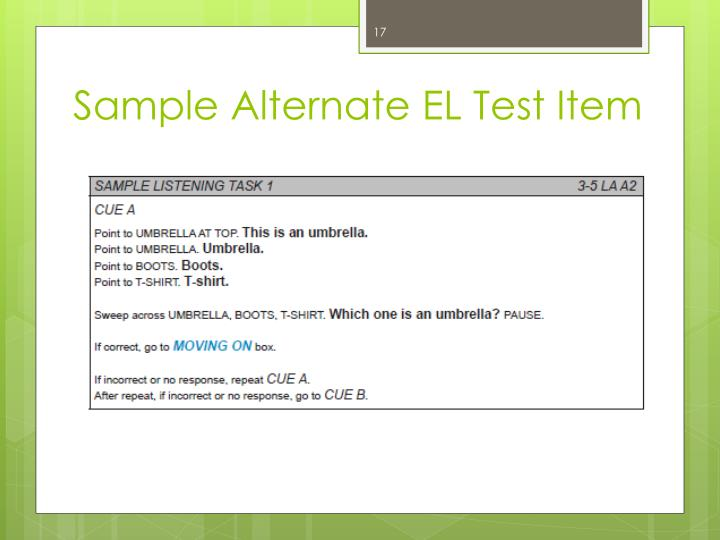 Sample Alternate EL Test Item