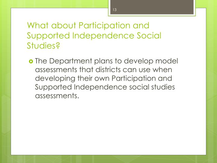 What about Participation and Supported Independence Social Studies?