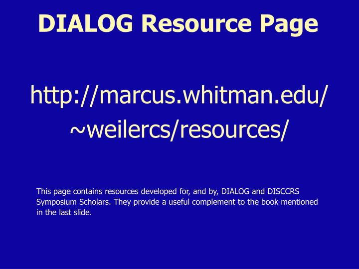 DIALOG Resource Page