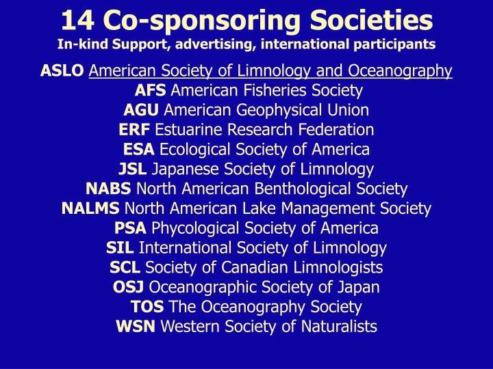 14 Co-sponsoring Societies