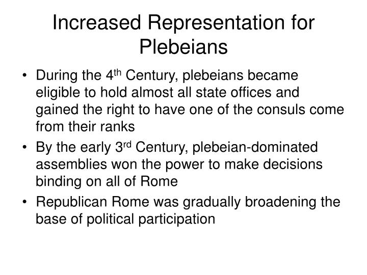 Increased Representation for Plebeians
