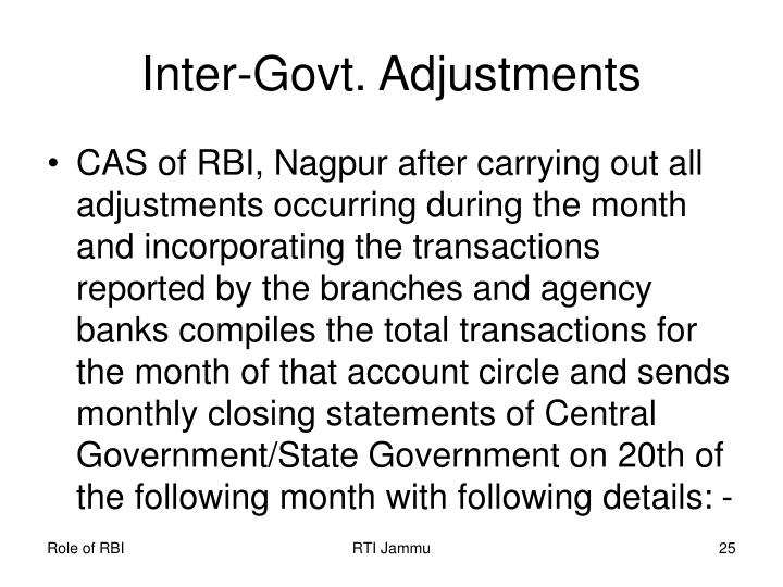 Inter-Govt. Adjustments