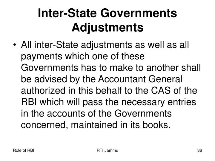 Inter-State Governments Adjustments