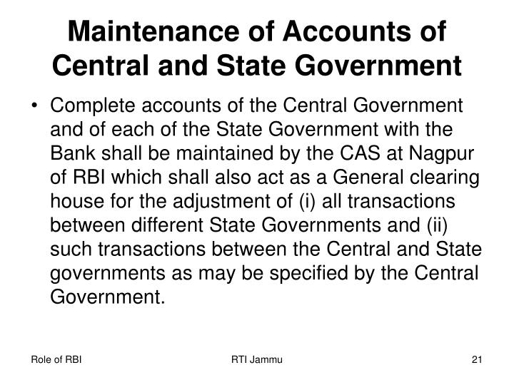 Maintenance of Accounts of Central and State Government