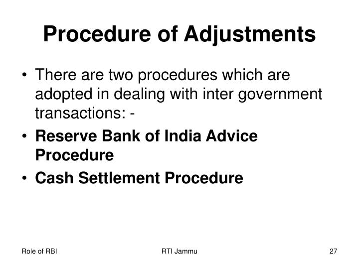 Procedure of Adjustments