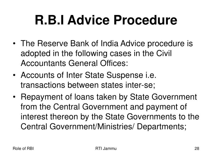 R.B.I Advice Procedure