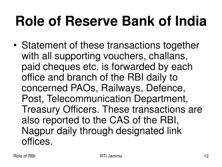 Role of Reserve Bank of India