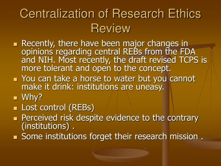 Centralization of Research Ethics Review