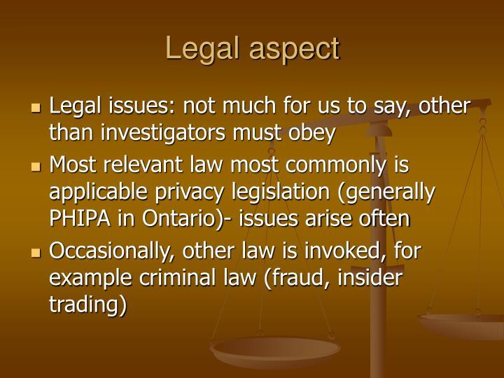 Legal aspect