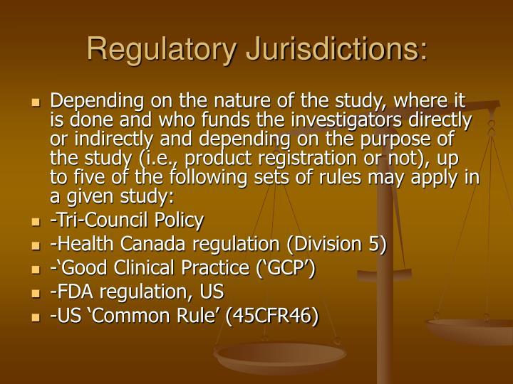 Regulatory Jurisdictions: