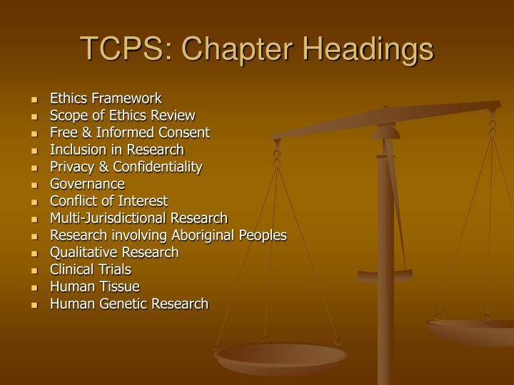 TCPS: Chapter Headings
