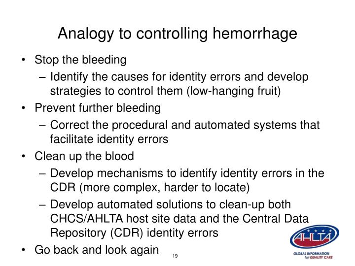 Analogy to controlling hemorrhage