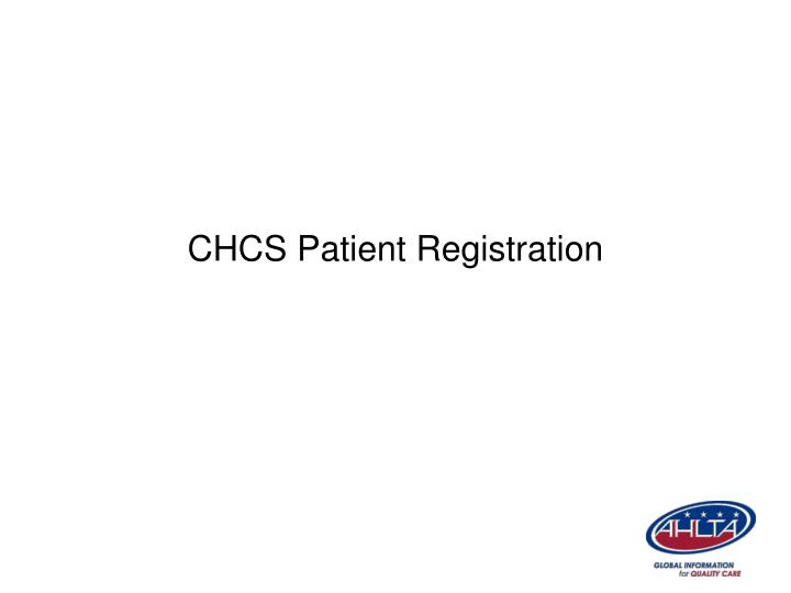 CHCS Patient Registration