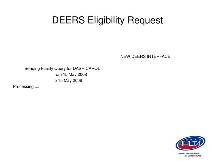 DEERS Eligibility Request