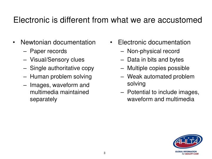 Electronic is different from what we are accustomed