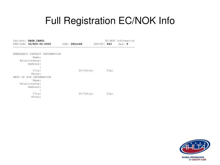 Full Registration EC/NOK Info